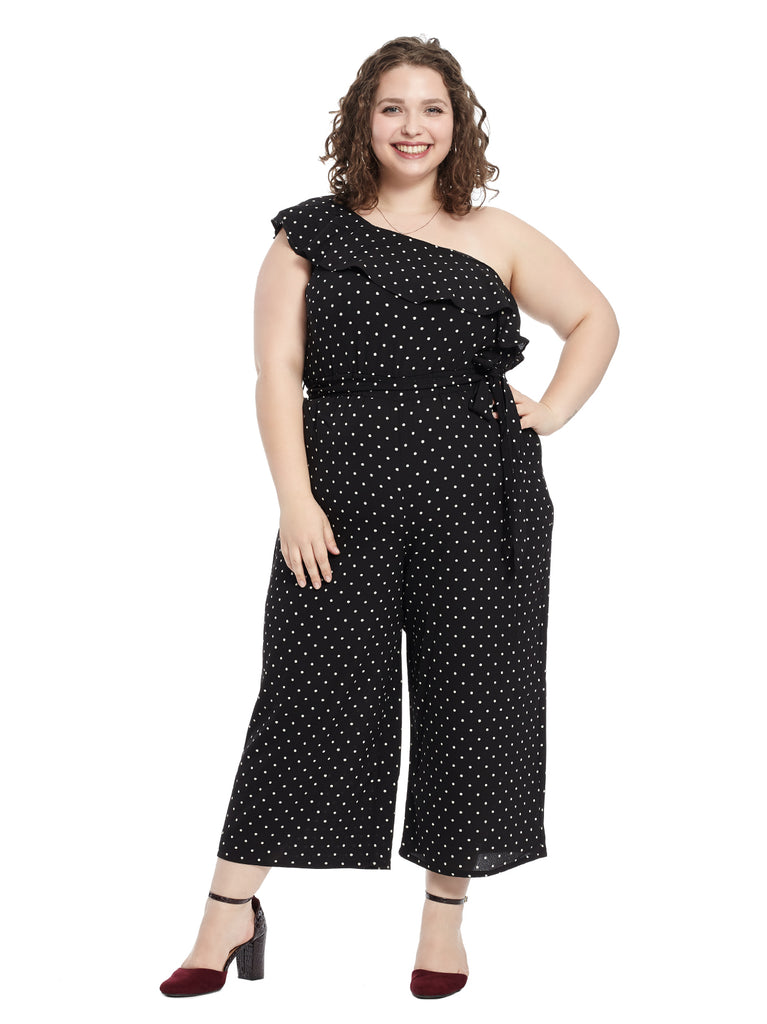 Rhythm Polka Dot One Shoulder Jumpsuit
