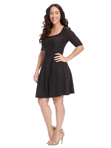 Black Rainbow Stripe Scoop Neck Skater Dress