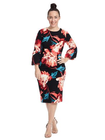 Lantern Sleeve Peony Midi Dress