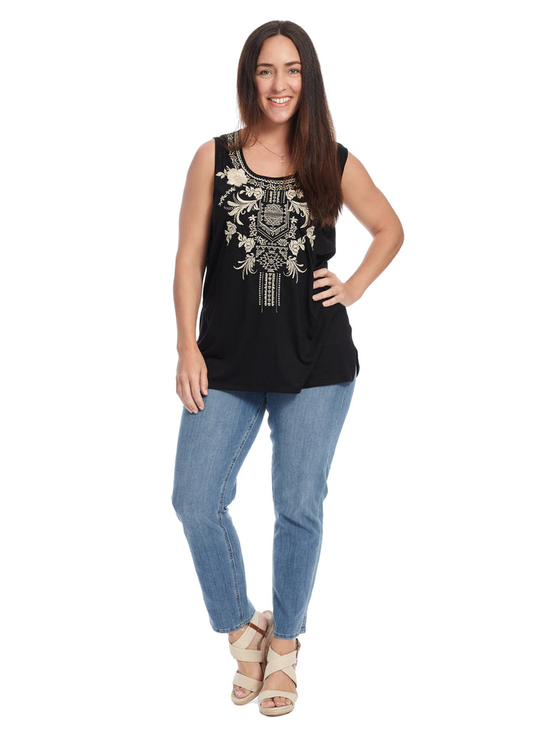 Sleeveless Embroidered Black Top