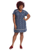 Short Sleeve V-Neck Dress In Blue Medallion Print
