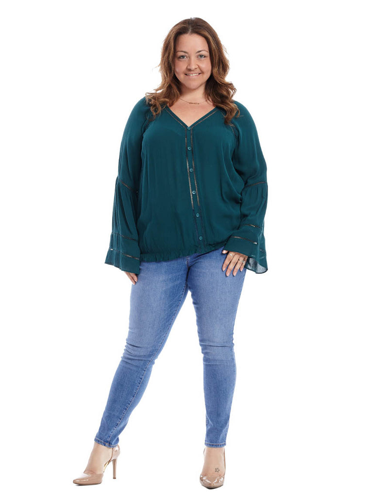 Deep Teal Bell Sleeve Top