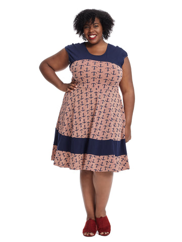 Anchors Away Print Napoli Dress