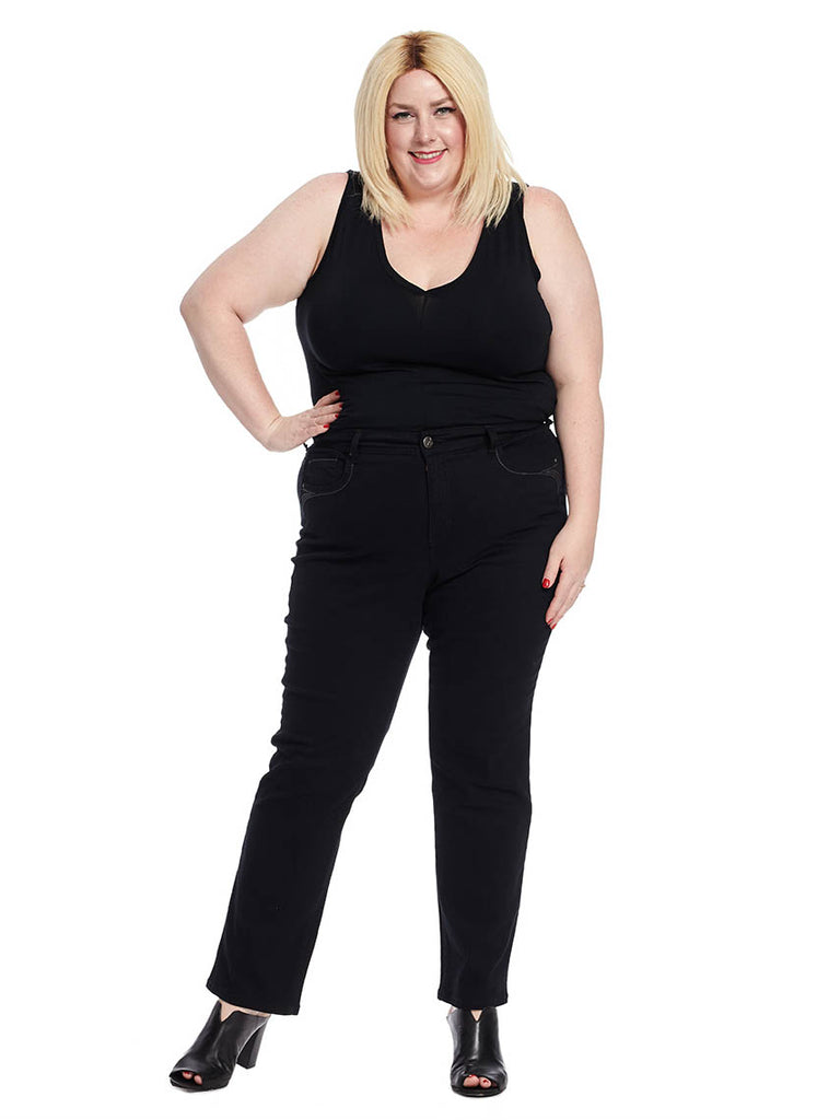 Tummy Control Straight Leg Jeans In Black