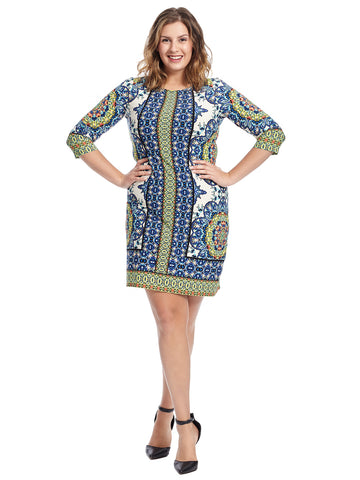 Three-Quarter Sleeve Printed Shift Dress