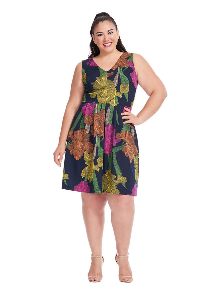 Scuba Navy Dress In Floral Print