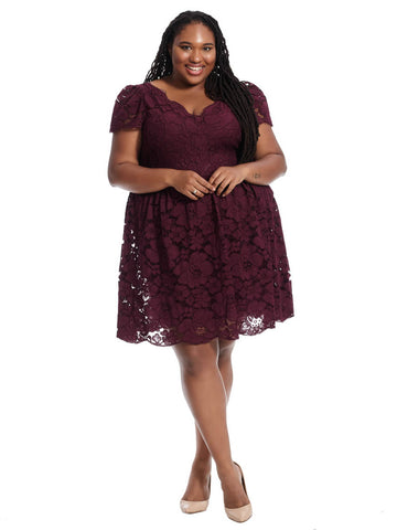 Fluer Dress In Plum