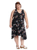 Black Floral Assymetrical Dress