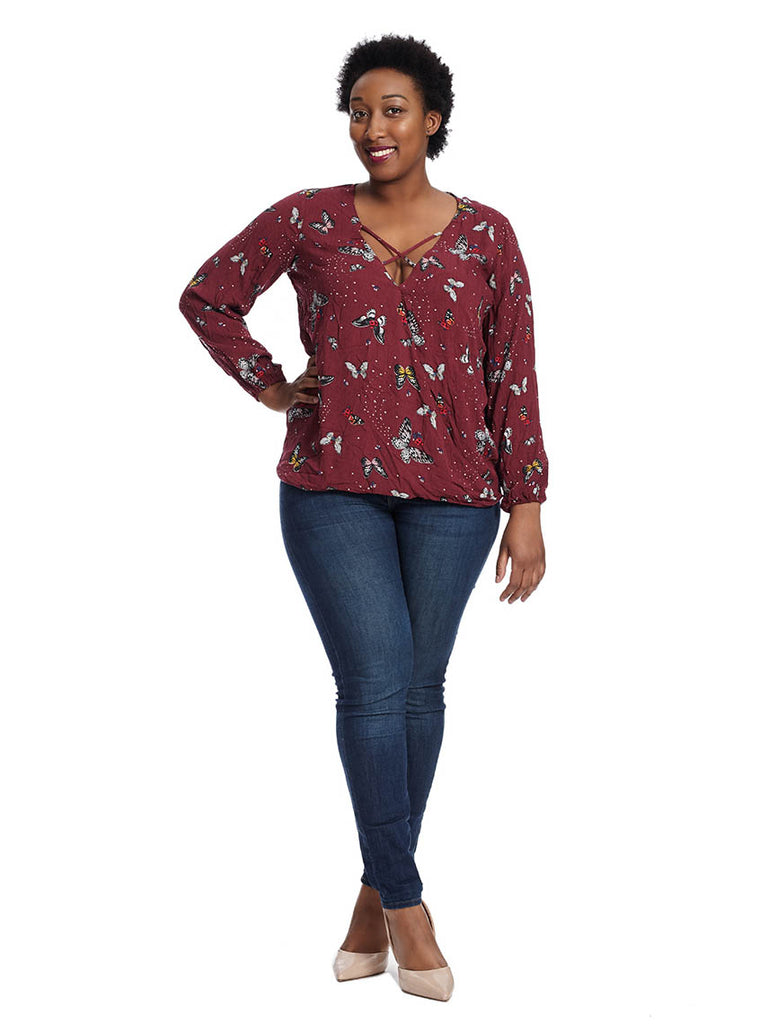 Surplice Top In Butterfly Print