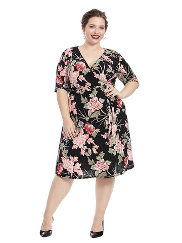 Black And Pink Floral Print Faux Wrap Dress