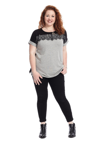 Lace Detail Black And Grey Colorblock Top