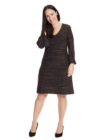 Metallic Knit Shift Dress
