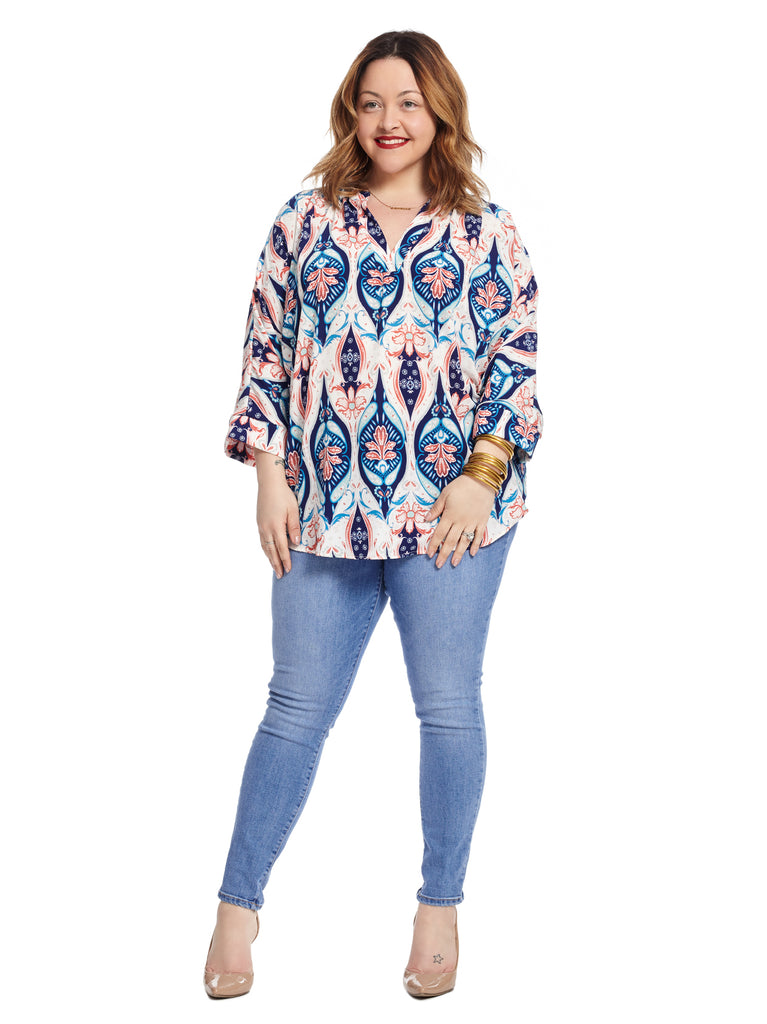 V-Neck Tunic In Blue And Coral Print