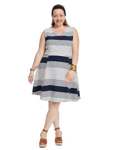 V-Neck Navy And White Stripe Fit And Flare Dress