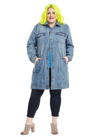 Oversized Denim Detail Jacket
