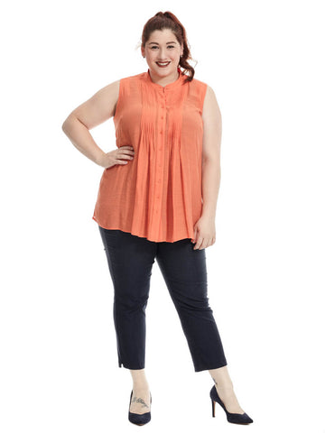 Pin Tuck Sleeveless Blouse In Coral