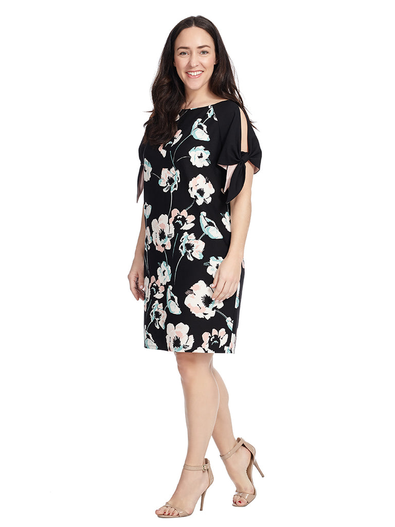 Cold Shoulder Knot Sleeve Dress In Floral Print