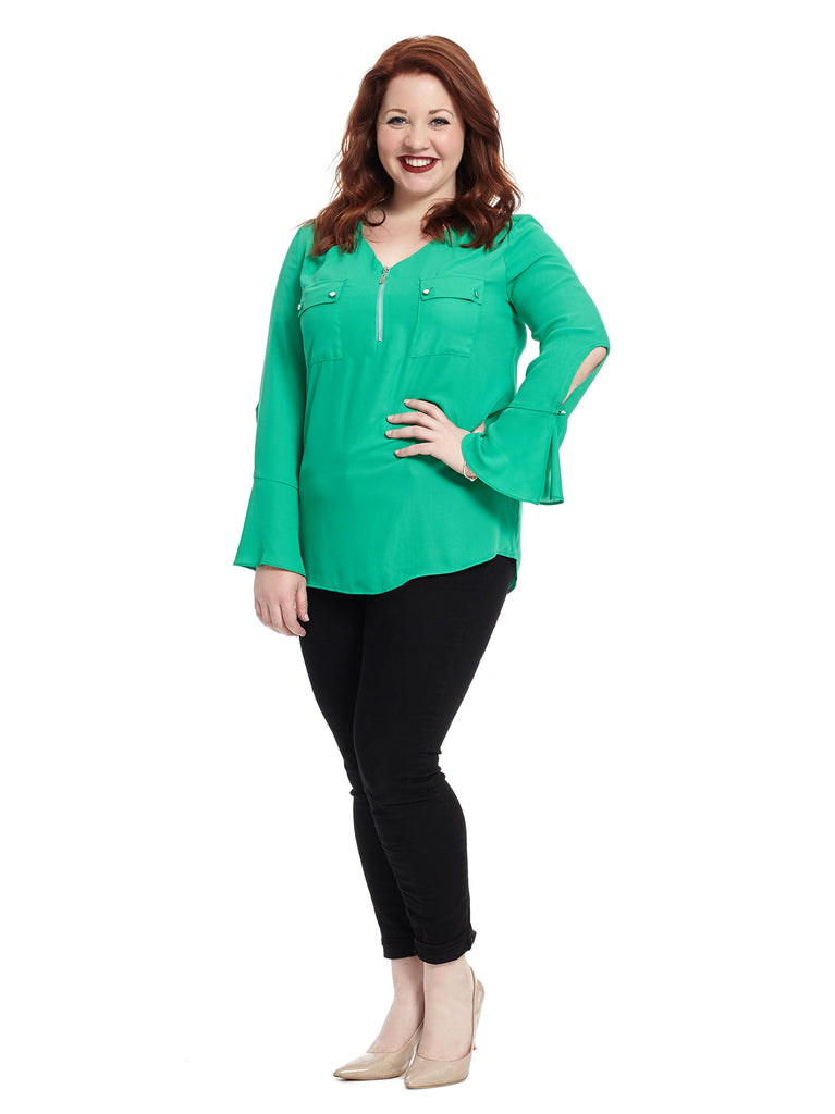 Double Pocket Green Top