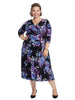 Black And Purple Floral Surplice Dress