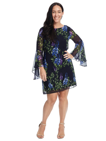 Asymmetrical Bell Sleeve Floral Shift Dress