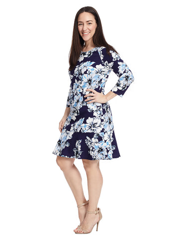 Three-Quarter Sleeve Navy Floral Drop Waist Dress