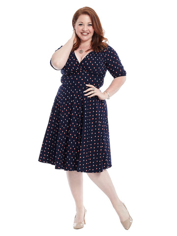 Pleat Detail Navy Windmill Print Delores Dress