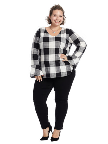 Flare Sleeve Black Gingham V-Neck Top