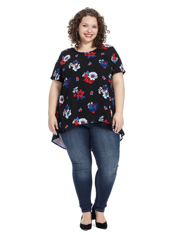 Short Sleeve Floral Print Tunic Top