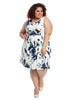 White And Blue Floral Print Dress