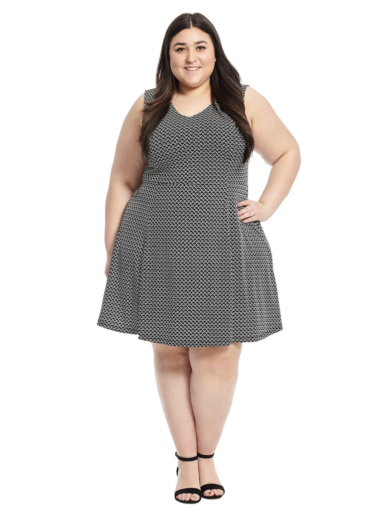 V-Neck Fit And Flare Dress In Black And White Dot