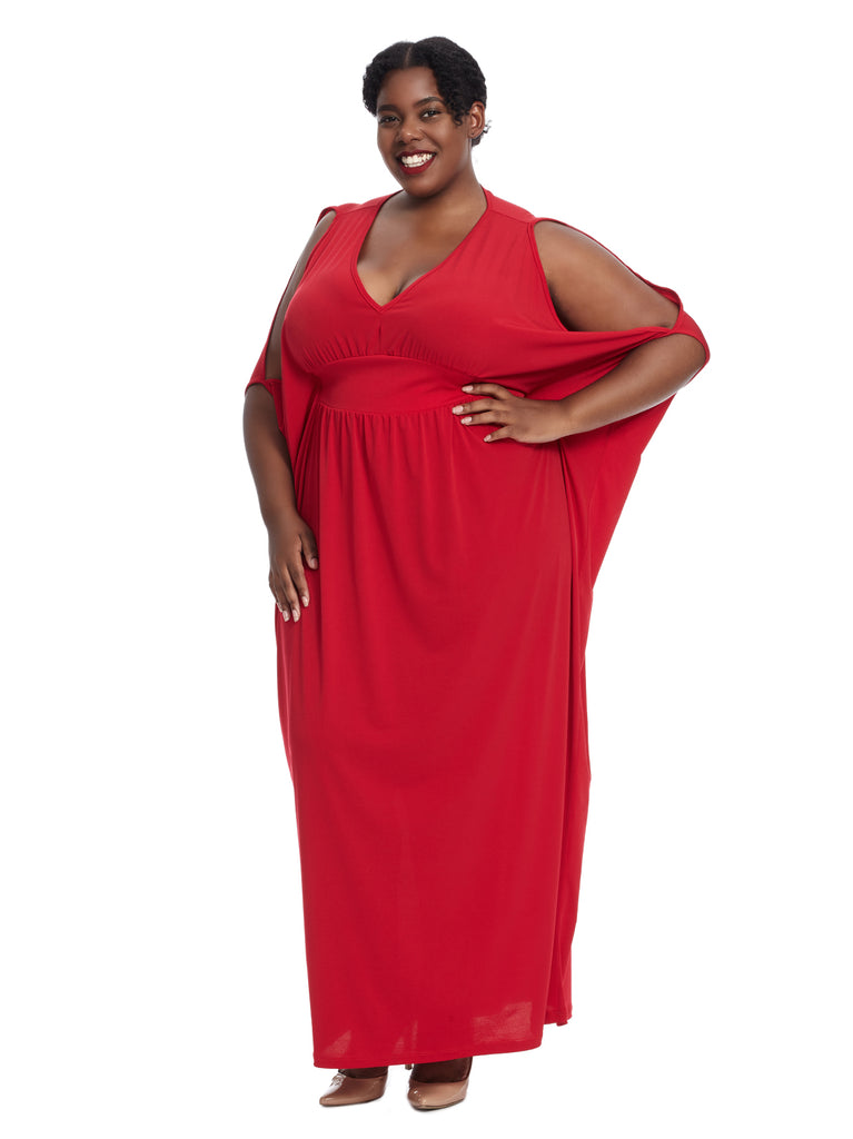 Cold Shoulder Red Maxi Dress