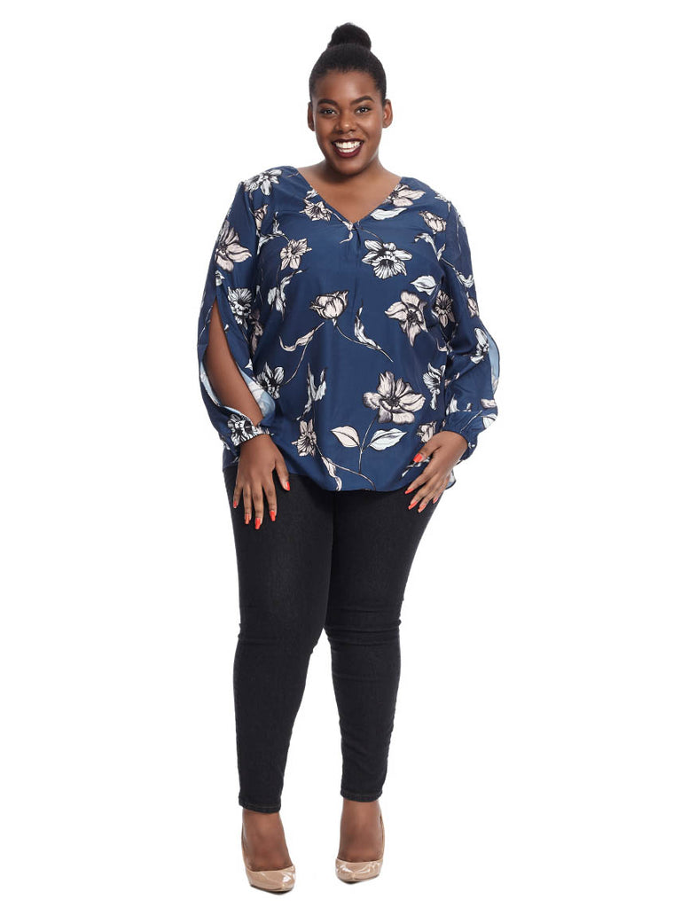 Bardot Top In Navy Painted Oleander Print