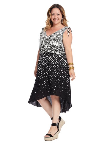 Moody Dot Hi-Lo Dress