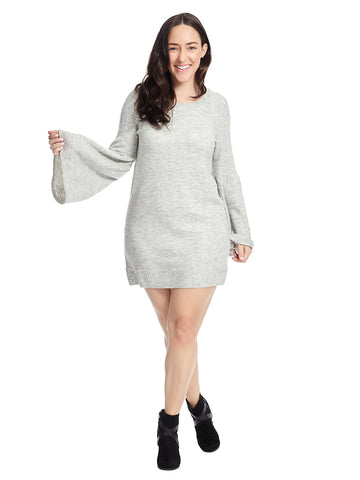 Long Sleeve Sweater Dress In Grey