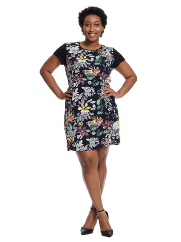 Short Sleeve Shift Dress In Black Floral Print