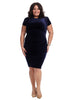 Side Ruched Navy Velvet Dress
