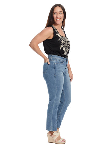 Shape Slim Straight Side Slit Iliad Wash Jeans