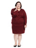 Vent Sleeve V-Neck Dress In Merlot