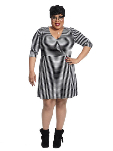 Rib Faux Wrap Dress In Grey And Black Stripes