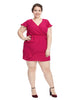 Surplice Magenta Dress