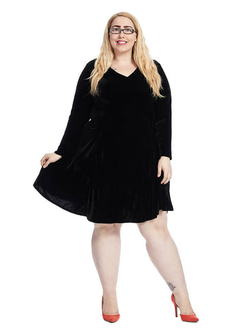 V-Neck Velvet Fit And Flare Dress In Black