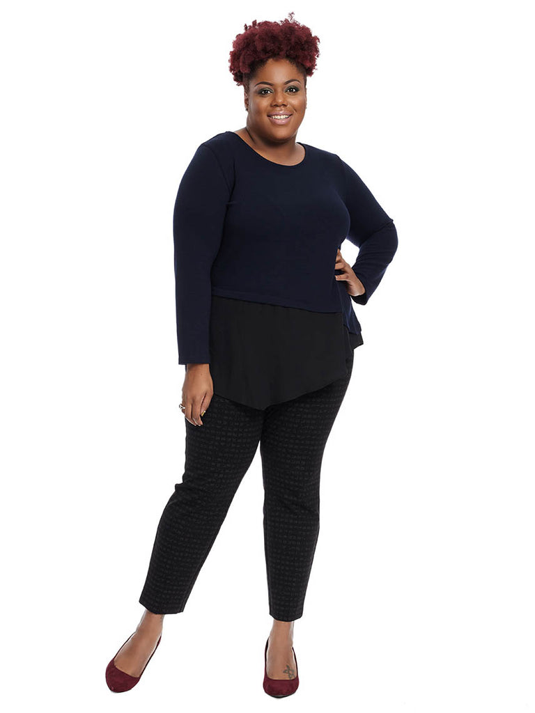 Contrast Asymmetric Top In Navy