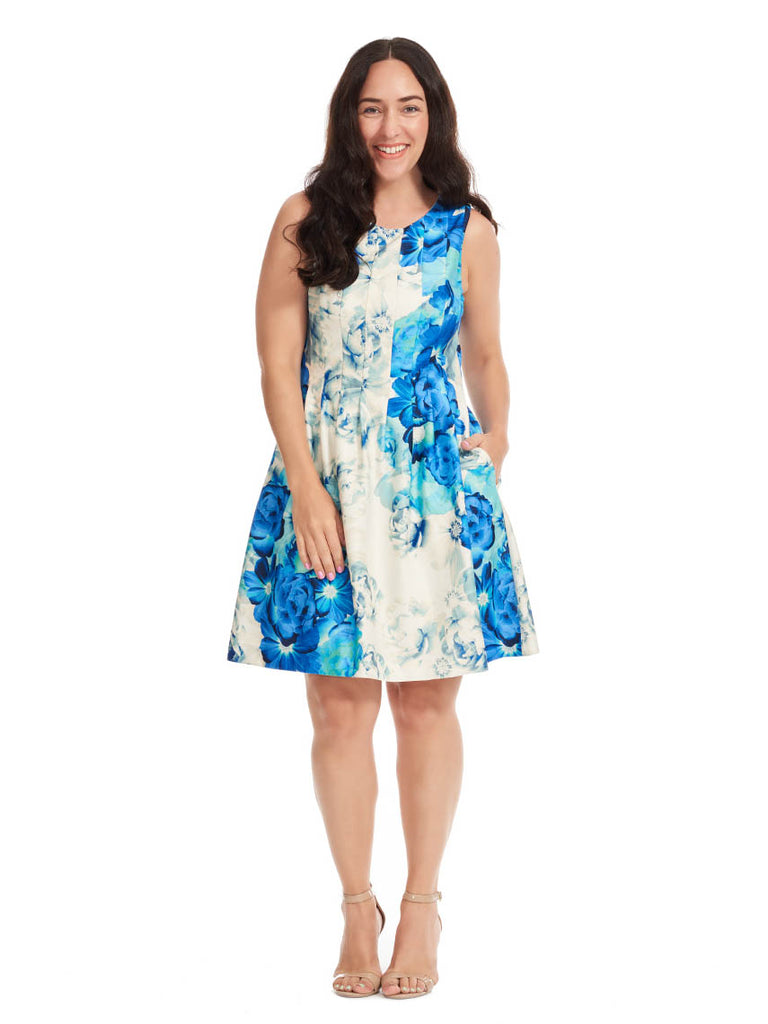 Floral Fit & Flare Dress In Mixed Blues