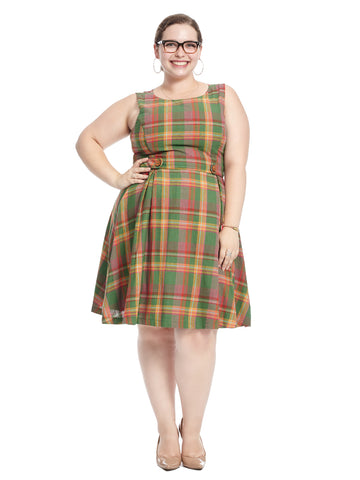 Sleeveless Plaid Fit And Flare Dress