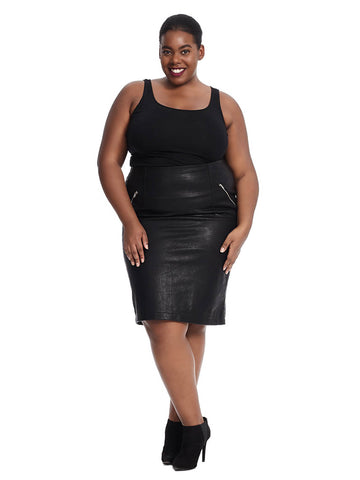 Black Faux Leather Textured Skirt With Zipper Detail