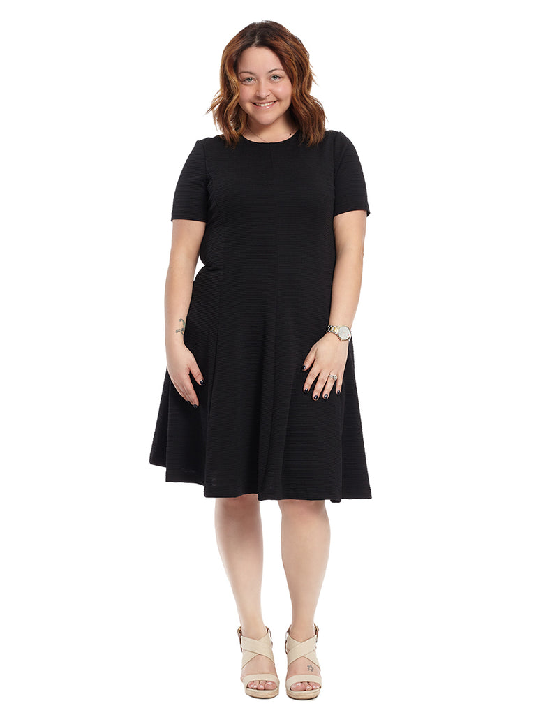 Short Sleeve Black Stripe Fit And Flare Dress