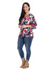 Double Ruffle Navy Windstroke Print Top
