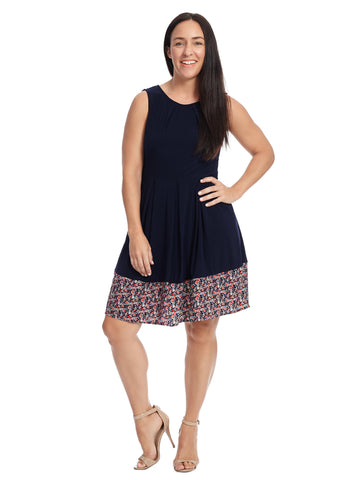 Border Print Navy Fit And Flare Dress