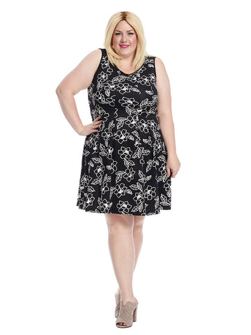 Scuba Floral Dress In Black