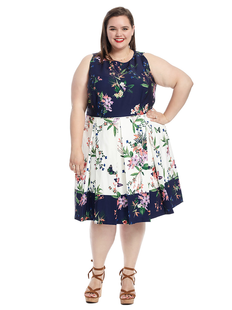 Color Block Floral Scuba Dress